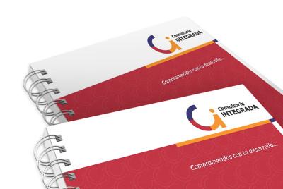 Logotipo y aplicaciones Consultoría Integrada |<span>Consultoría Integrada<span>